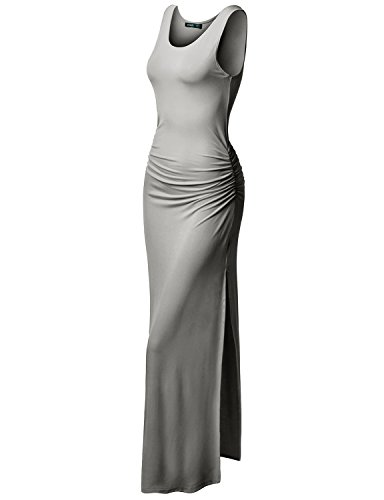 TWINTH Plus Size Maxi Dress Midi Dress Side Shirring Waist Sleeveless Gray 3XL