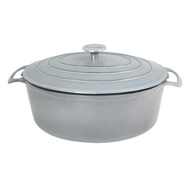 Le Cuistot Vieille France Enameled Cast-Iron 7 Quart Round Dutch Oven - Classy Gray