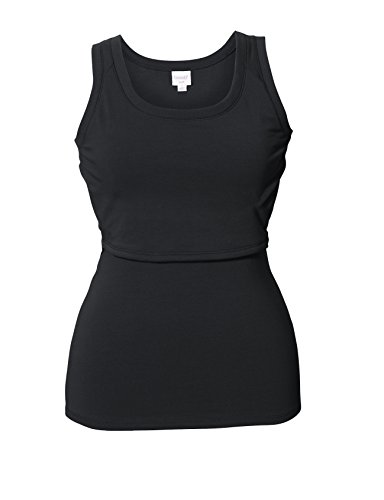 Boob B-Warmer Maternity Nursing Fleece Singlet Tank Top - Black - Medium