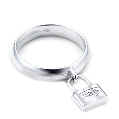 Partners In Crime Dangle Charm Pad Lock Ring For Women For Girlfriend 925 Sterling Silver Shiny 1MM