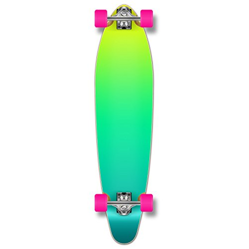 Yocaher Kicktail concave Pro Longboard Complete Cruiser Freeride Skateboard and Decks (Complete - Gradient Green)