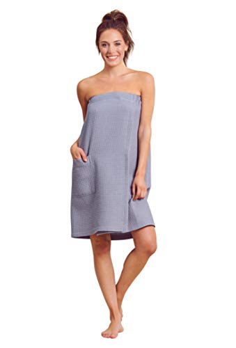 (Women Waffle Spa/Bath Wrap with Pocket - Soft Lightweight Comfortable Adjustable Closure, Dry Fast (Large/X-Large, Grey))