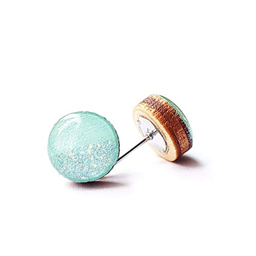 Painted bright mint with iridescent glitter wood stud earrings 10mm Wrap Star Boutique