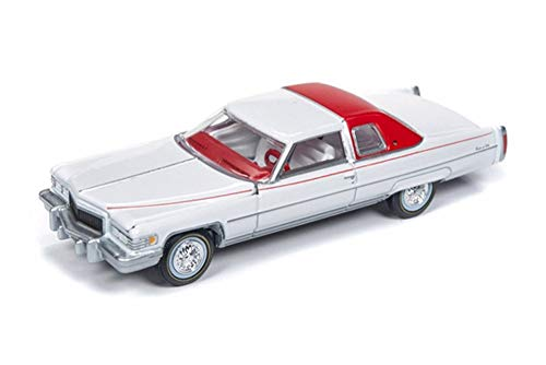 Auto World 1976 Cadillac Coupe Deville, White with red AW64192/48B - 1/64 Scale Diecast Model Toy Car