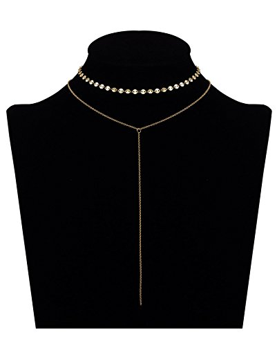 Women 2 Layers Gold Plated Coins Disc Necklace Gold - 8