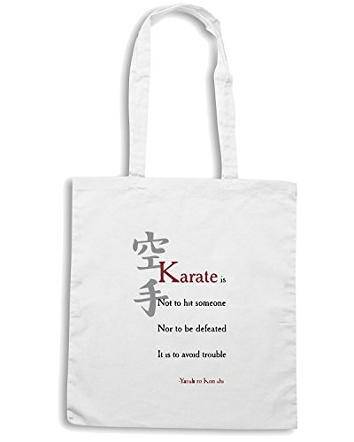 T-Shirtshock - Bolsa para la compra TAM0067 karate yasuhiro konishi Blanco
