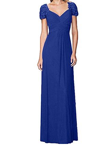 Lang Brautmutterkleider Charmant Abendkleider Chiffon Partykleider Blau Rot Spitze Damen Elegant A Royal Linie Rock Dunkel qWnrgxqHz