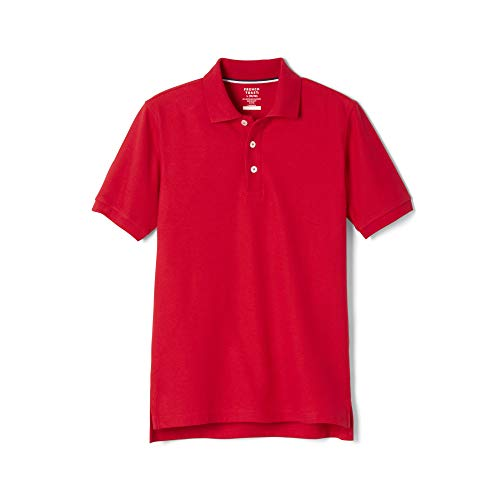 (French Toast Big Boys' Short Sleeve Pique Polo, Red, Large/10/12)