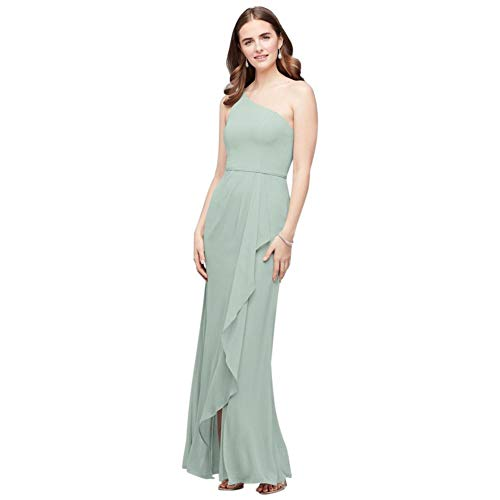 One-Shoulder Chiffon Bridesmaid Dress with Cascade Style F20011, Dusty Sage, 8