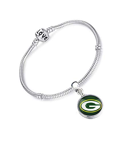 Devastating Designs Women's Sterling Silver Green Bay Packers Bracelet Football Gift