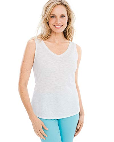 Chico's Women's Sleeveless V-Neck Slub Tee, Alabaster, 16/18 - XL (3)