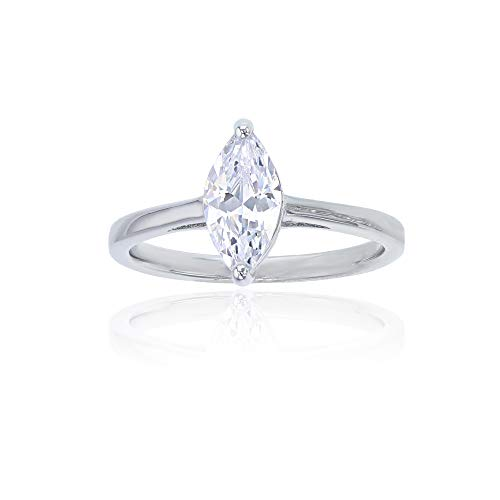 Decadence Women's Sterling Silver Rhodium 5x10mm Marquise Cut Solitaire Engagement Ring, 8