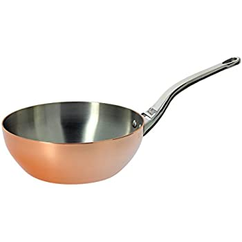 De Buyer Professional 24 cm Inocuivre Copper Conical Saute Pan with Cast Stainless Steel Handle 6436.24