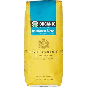First Colony Coffee and Tea Rainforest Blend USDA Organic Arabica - Colony First