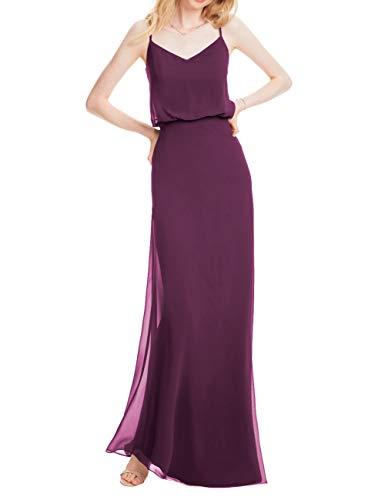 - Cdress Wedding Bridesmaid Dress Evening Gown Spaghetti Straps Long Chiffon Beach Flowy Grape US 10