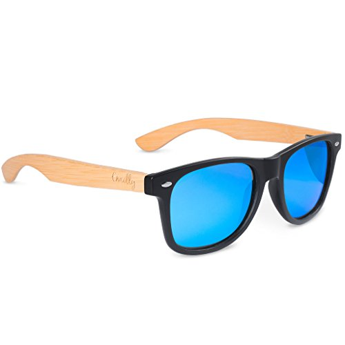 Bamboo Wayfarer Sunglasses for Men and Women- Polarized to Reduce Glare - 100% Protection from UV Rays, Blue Mirrored Lenses, Bamboo Wooden Arms - Stainless Steel Hinges (Bamboo Arms, Ice Blue)