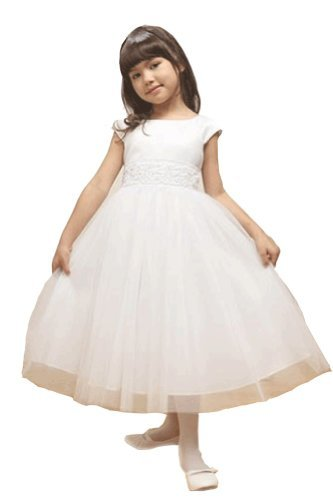 KID Collection Big Girls' Angelic Tulle Dress 12 White (Kid 1184) by Kid Collection