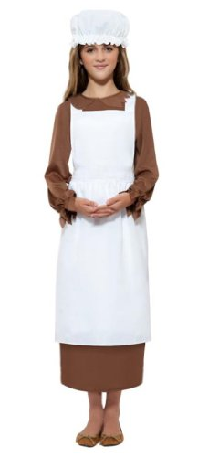 Smiffy's Children's Colonial Victorian Kit,  Apron and Mop Cap, One Size, Colour: White, 21905 (Colonial Day Costumes)
