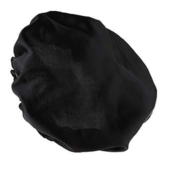 Prettyia Women Plain Silk Satin Pure Night Sleep Cap Hair Care Beauty Bonnet Hat Head Cover - Black, as described