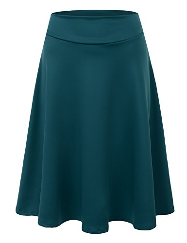 Doublju Elastic High Waist A-Line Flared Midi Skirt (Made In USA / Plus size available) TEAL MEDIUM