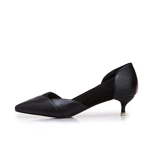 banquete y bare Negro 39 con pálido 4 altos verano de de El 5cm tacones salvaje zapatos finos solo primavera color boca punta OpUTdpqW1