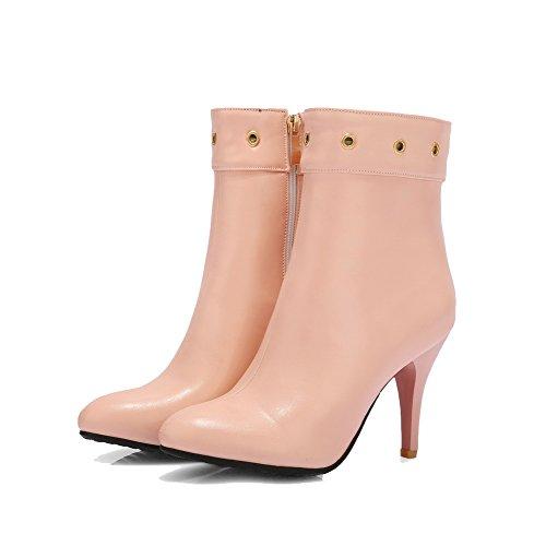 Allhqfashion Para Mujer Cerrado Con Punta Cerrada Low-top High-heels Solid Pu Botas Rosa