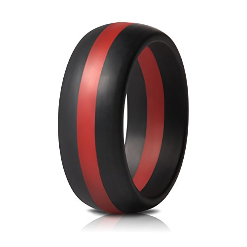 Saco Band Mens Silicone Rings Wedding Bands - Single (Black with Red Line, 9.5 - 10 (19.8mm)) - Series Single Line