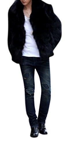 Enlishop Men's Fashion Winter Warm Open Front Short Faux Fur