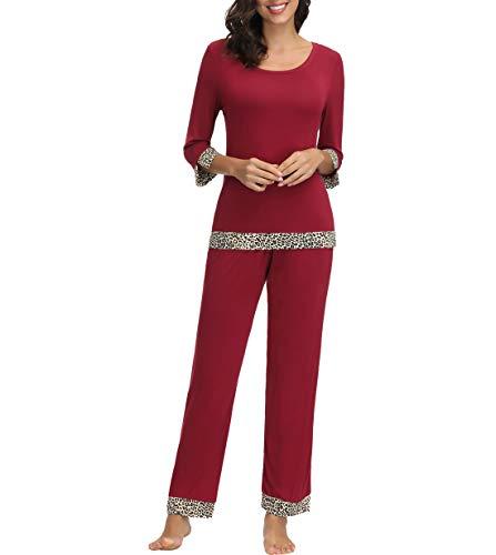 - Zexxxy Women's Boat Neck Long Sleeve Shirt Elastic Waist Pants Sleepwear Pajamas Set XL Wine Red