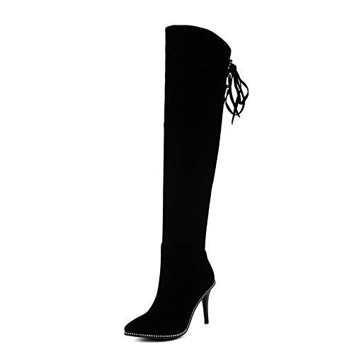 HOESCZS 2019 Frauen Stiefel Elegante Frauen Kniehohe Stiefel Dünne High Heel Spitz Winter Schuhe Frau Stiefel Große Größe 34-43