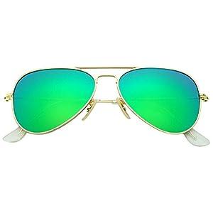 YuFalling Polarized Aviator Kids Sunglasses for Girls and Boys Age 5-12 (gold frame/green lens, 52)