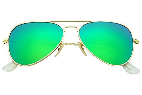YuFalling Polarized Aviator Kids Sunglasses for Girls and Boys Age 5-12 (gold frame/green lens, 52)