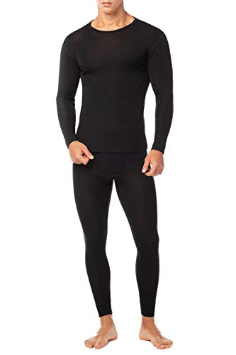 LAPASA Men's 100% Merino Wool Thermal Underwear Long John Set Lightweight Base Layer Top and Bottom M31 (Large, Black.)