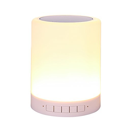 Night Light Bluetooth Speakers,LED Touch Bedside Lamp - with Bluetooth Speaker,Dimmable Color Night Light,night light speaker,Outdoor Table Lamp with Smart Touch Control (White)