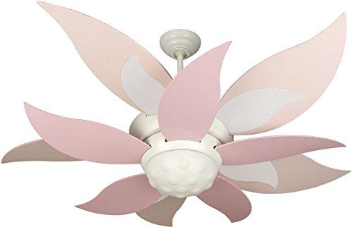 Cheap Craftmade BL52W, Bloom White Kids 52″ Ceiling Fan w/ Light, Remote Control & BBL52-PNK Blades