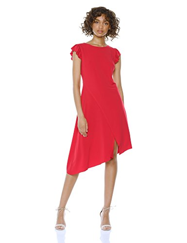 Asymetrical Hem Dress - Wild Meadow Women's ITY Fluttered Sleeves Dress L Red