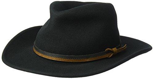 (Country Gentleman Men's Outback Wool Drop Brim Fedora Hat, Black, M)