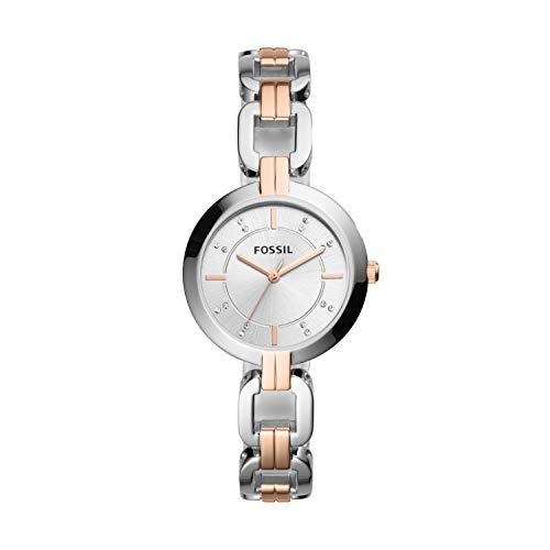 Fossil Women's Kerrigan Quartz Two-Tone Stainless Steel Dress Watch, Color: Silver, Rose Gold (Model: BQ3341)