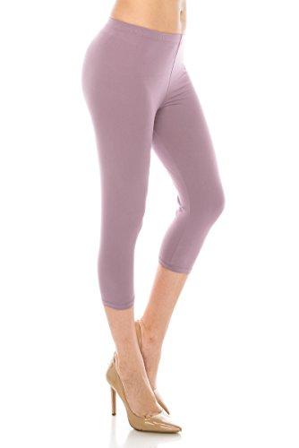 (ALWAYS Women Basic Capri Leggings - Solid Buttery Premium Soft Stretch Yoga Workout Fitness Pants Lavender Regular)