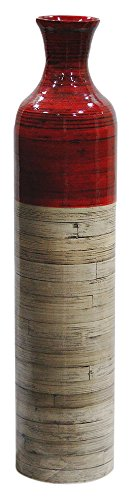 Heather Ann Creations Milano Collection Handcrafted Bamboo Floor Vase with Metallic Red and Natural Bamboo Finish