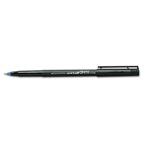 uni-ball 60145 - Onyx Roller Ball Stick Dye-Based Pen, Blue Ink, Fine, Dozen