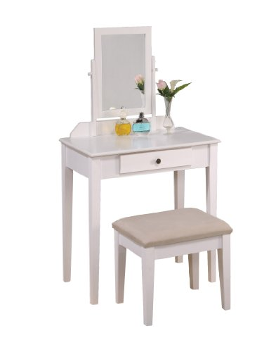 Price comparison product image Roundhill Furniture Contemporary Wood Makeup Vanity with Mirror and Bench,  White Finish