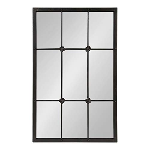 Kate and Laurel McKone French Country 9 Windowpane Metal Wall Mirror, Rustic -