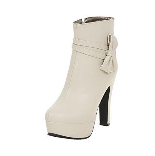 PU Beige Toe Boots AgooLar Solid High Round Women's Zipper Heels wqHHAXx
