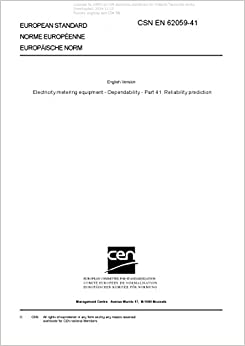 Book CSN EN 62059-41 - Electricity metering equipment - Dependability - Part 41: Reliability prediction