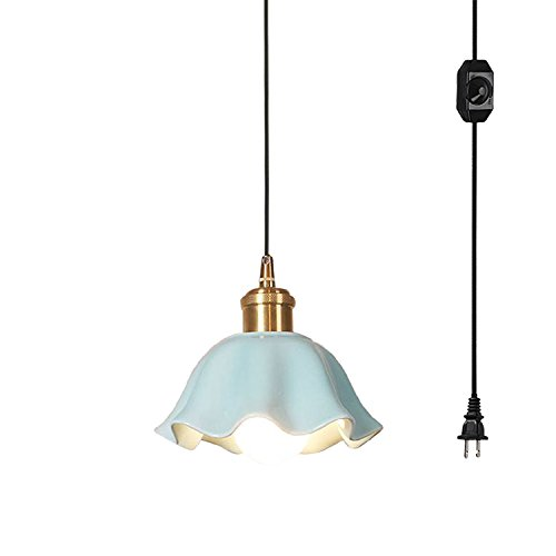 STGLIGHTING 15 Feet Plug-in UL Listed On/Off Dimmer Switch Cord Tiffany Blue Ceramics Flower Shade Antique Brass Base Chandelier Decorative Pendant Light Bulb Not Included ()