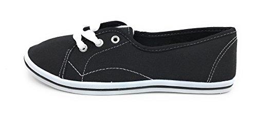 Falts Canvas Women Shoes EASY21 Black up Lace Ballet IUxnH7