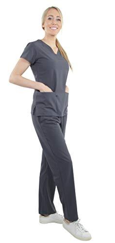 (Unisex Performance Stretch Medical Uniform, Five Pockets, V-Neck Scrubs Sets in Pewter Size S)