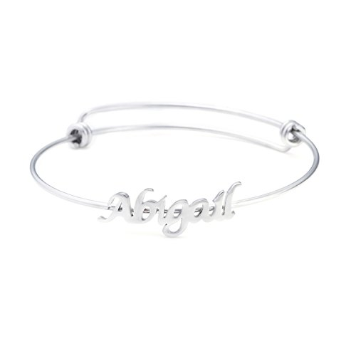 Price comparison product image Name Bangle for Teen Girls Personalized Name Bracelets Jewelry Gift for Friends Women Name Abigail