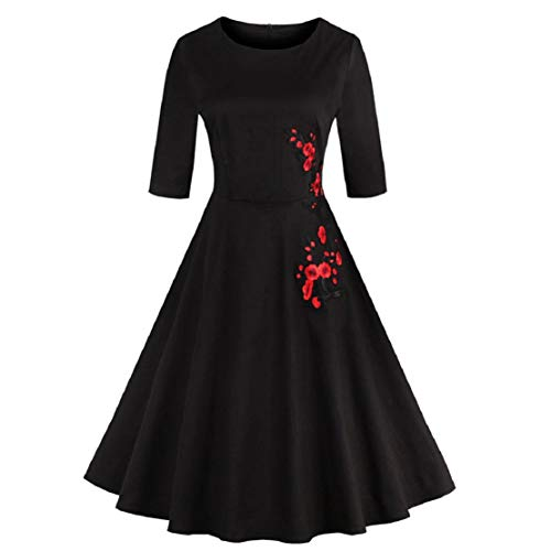 Women Fashion Vintage 1950s Vintage 3/4 Sleeve Retro Swing Dress Solid Color Appliques Party Dress by Lowprofile Black (119s)